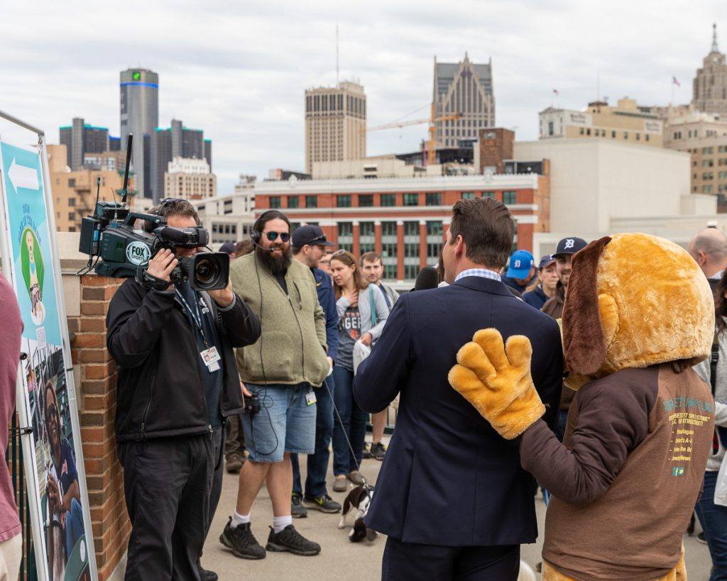 The Fox News Crew filming at Bark at the Park at Comerica Park.